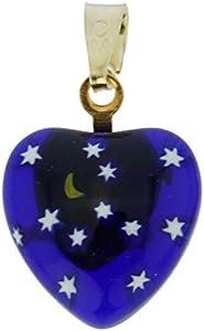 GlassOfVenice - Colgante de cristal de Murano Millefiori con forma de corazón - Noche estrellada de oro