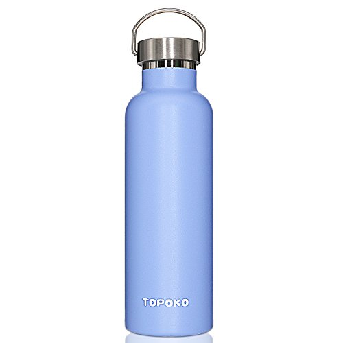 TOPOKO 25 oz Stainless Steel Vacuum Insulated Water Bottle, Keeps Drink Cold up to 24 Hours & Hot up to 12 Hours Leak Proof and Sweat Proof Large Capacity Sports Bottle Wide Mouth Metal Lid (SkyBlue)