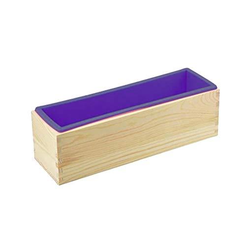 Molde para pan, molde para pasteles, molde rectangular para tostadas, molde para pasteles de silicona, molde para jabón de silicona con herramientas para hornear de caja de madera, herramientas