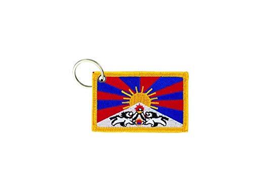 akachafactory Sleutelhanger sleutelhanger geborduurd borduurwerk patch dubbelzijdig vlag tibet tibetan