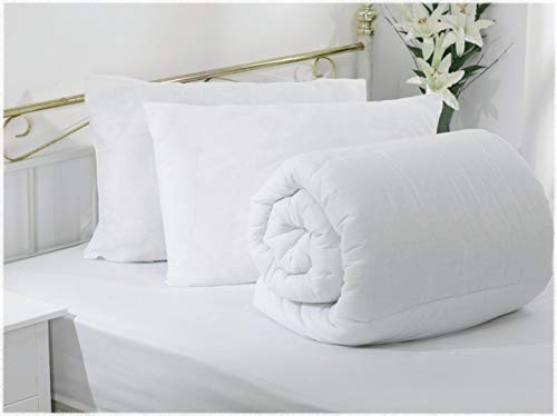 SleepyNights Double 10.5 Tog Duvet Quilt WITH 2 Ultra Bounce Pillows Value Bundle Non Allergenic Soft Touch Poly Cotton Double 10.5 Tog