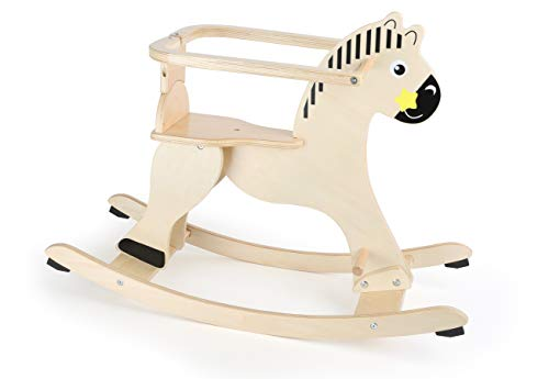 Small Foot Wooden Toys Natural Wooden Rocking Horse with Removable Protective Ring Designed for Children 12+ Months