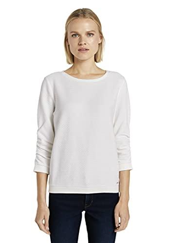 TOM TAILOR Denim Damen 1021114 Structure Sweatshirt, 10332-Off White, L