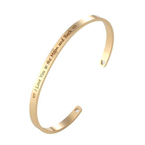 Daesar Damen Uhr Armreif Edelstahl I Love You to The Mond and Back Damen Armband Gold Freundschaftsarmband Breit 4 MM