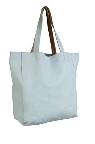 Clairefontaine Clairefontaine Chacha by Iris Tropical Dream Leather Shopping Bag - Light Green Bagaglio a mano 36 centimeters Verde (Light Green)