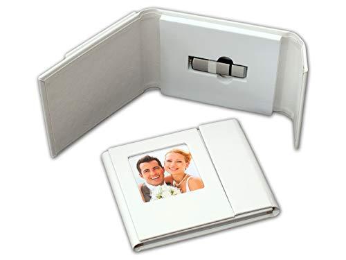 Boda USB-con imagen. Cuero sintético blanco.