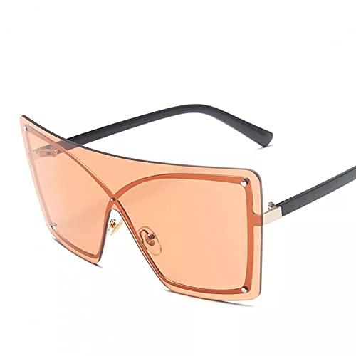 TYOLOMZ Gafas de Sol rectangulares con Degradado, Gafas graduadas sin Montura de Metal con Ojos de Gato siamés de Gran tamaño para Hombres y Mujeres