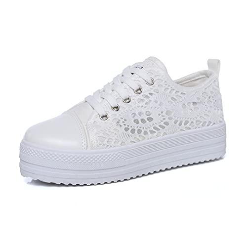 Oceansee Zapatos de Mujer Moda Verano Casual Zapatos Blancos Recortes Encaje Lienzo Hueco Transpirable Plataforma Plana Zapatillas de Deporte Mujer White 8