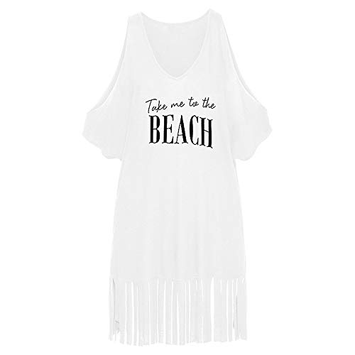 Vest voor Bikini Letters Print Tassel Swimwear Bikini Cover-ups Beach Dress Seaside Swimsuit Badpak Beachwear Tank Top Cold Shoulder Losse Blouses T-shirt Dames Strandkleding