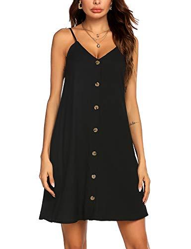 UNibelle Top Damen Kleid kurz Oberteil Knopfleiste Damen Sommerkleider Spaghettiträger Freitzeitkleid A-Linie