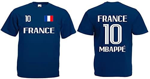 Frankreich Mbappé Herren T-Shirt EM 2020 Trikot Look Style Shirt Dunkelblau XXXL