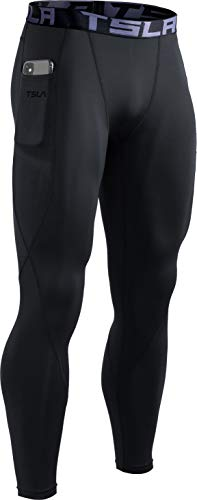 TSLA Men's Thermal Compression Pants, Athletic Sports Leggings & Running Tights, Wintergear Base Layer Bottoms, Thermal Pocket(yup41) - Black, Medium