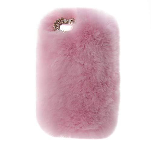 iPod Nano 7 Case,Super Deluxe Luxury Faux Rabbit Fur Fuzzy Plush Beaver Rex Rabbit Hair Fur Case for Apple iPod Nano 7th & 8th Generation (Bowknot Pink)