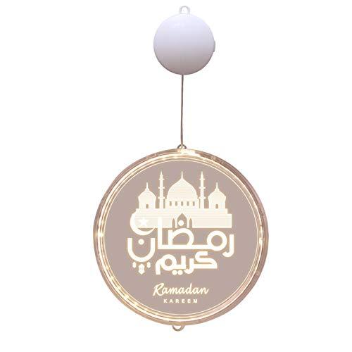 EUBEISAQI Ramadán Mubarak Luces Decorativas Luna Noche Luces Ornamentos para el Hogar Eid Festival Fiesta Suministros