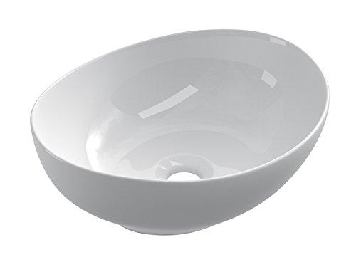 STARBATH PLUS Lavabo da Appoggio Ceramica Soprapiano Lavandino Bagno Ovale 41 x 33 x 15 cm SBAR