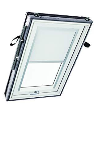 Roto R6/R8x 06/11 M AL V01 Original Verdunkelungsrollo (ZRV) für Dachfenster, einfache und schnelle Montage, für Designo R6/R8 und Classic Baureihe, matt silberne Bedien-/Führungsschienen, Weiß (V-01)
