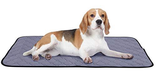 Pecute Hygieneunterlage Für Hund Haustiere (2 STK) Hundedecke Waschbar Wiederverwendbar Pflegeunterlage Welpenunterlage Mit rutschfeste Pünktchen Trainingpads Für Hund Wasserdicht Grau L 90 * 70 cm