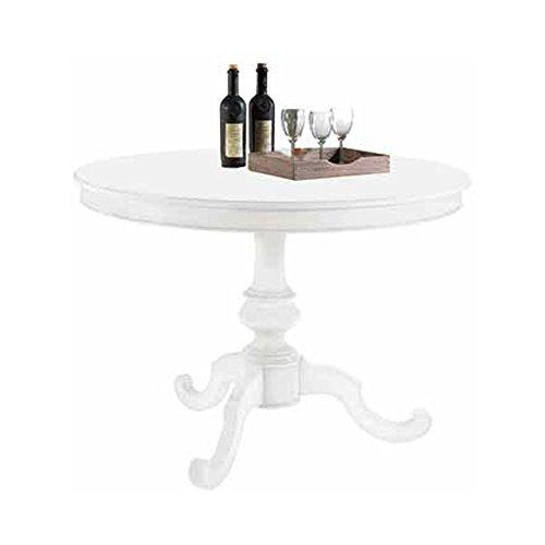 Table Rond diamètre 100, Style Classique, en Bois Massif et MDF avec Finition Blanc Mat - Dim. 100 x 100 x 75
