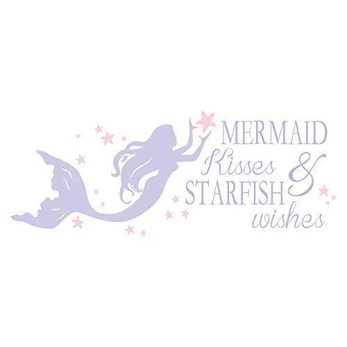 decalmile Lila Meerjungfrau Wandaufkleber Wandtattoo Sprüche Mermaid Kisses and Starfish Wishes Wandsticker Kinderzimmer Mädchen Schlafzimmer Babyzimmer Wanddeko