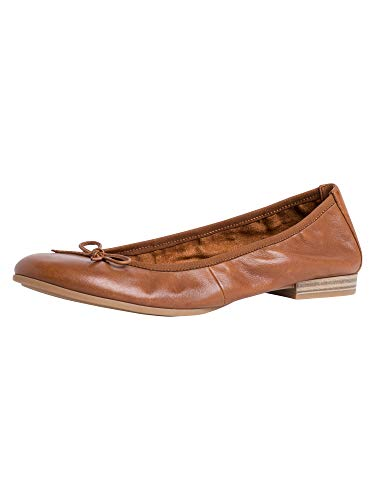 Tamaris Damen Ballerinas, Frauen Klassische Ballerinas, weiblich Lady Ladies Women's Women Woman Freizeit leger Flats elegant,Cognac,39 EU / 5.5 UK