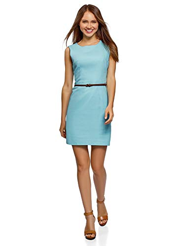 oodji Ultra Damen Ärmelloses Leinen-Kleid, Blau, DE 36 / EU 38 / S
