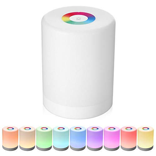 LED Touch Control nachtlampje, inductie, intelligente dimmer bedlampje, dimbaar, RGB kleurverandering, intelligent, oplaadbaar