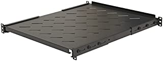 NavePoint Fixed Rack Vented Server Shelf 1U 19 Inch 4 Post Rack Mount Adjustable from 17-33 Inches