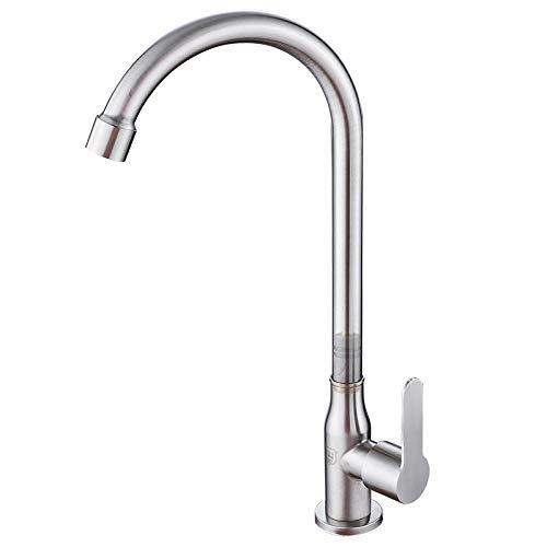 Single-Cold-Küchenarmatur aus Edelstahl mit Getriebe, Single-Cold-Waschbecken-Wasserhahn, drehbarer Waschbeckenhahn