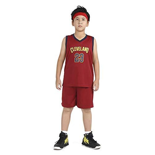 LCHENX-Boy and Girl Basketball Jersey NBA Lakers 23 # James Jersey Basketball Vest e pantaloncini rosso, L