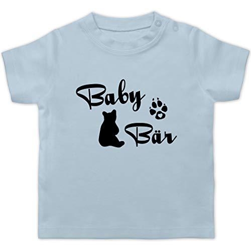 Partner-Look Familie Baby - Baby Bär Lettering - 6/12 Monate - Babyblau - T-Shirt - BZ02 - Baby T-Shirt Kurzarm