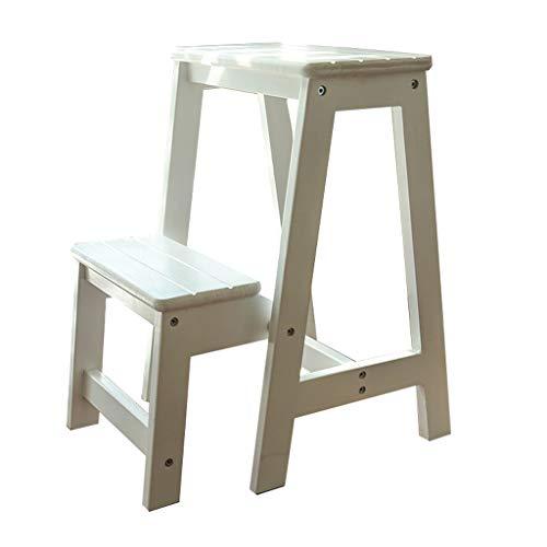 Klappstufen Treppenleiter Schwerlast Tritthocker 2 Stufen Holzleiter hochklappen Tragbarer Stuhl Haushalts Treppenstuhl Trittleiter verbreiterter Hocker für Kinder/Erwachsene, Höhe 56cm