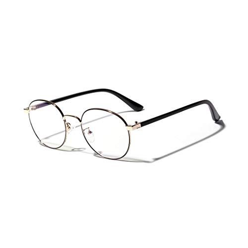 XIAOTANBAIHUO Anteojos Gafas redondas pequeñas de moda para mujer con montura de gafas con lentes transparentes (Color : Golden)