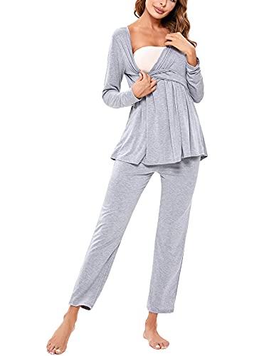 NB Pijamas de Lactancia para Mujer Invierno Algodón Pijamas de Maternidad de Hospital para Premamá Conjunto de Embarazadas de Mangas Largas para Mujer Talla Grande, Gris, M