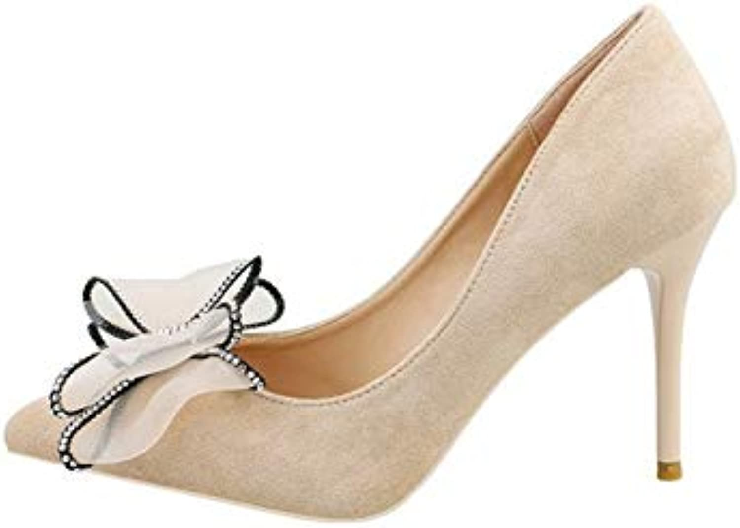 JQfashion Women's High-Heeled shoes Spring and Summer Single shoes Elegant Butterfly Knot Tip Fine-Heeled Shallow-mouthed Women's shoes