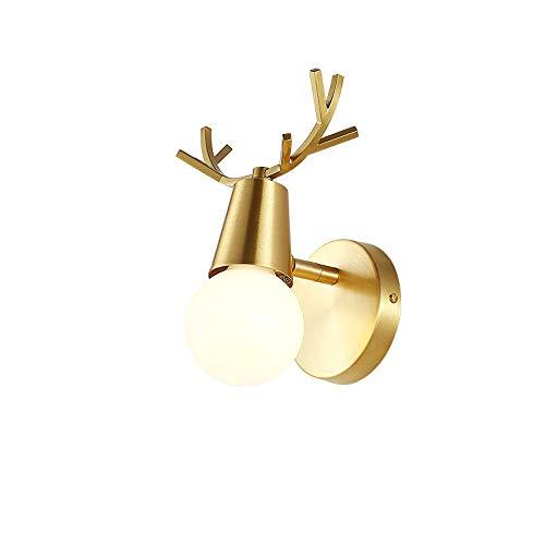 Brass Wall Light Nordic creatieve afwerking slaapkamer bedlampje van koper Post-Modern minimalistisch Amerika woonkamer hal hal E27 wandlamp Sconces Deer Head