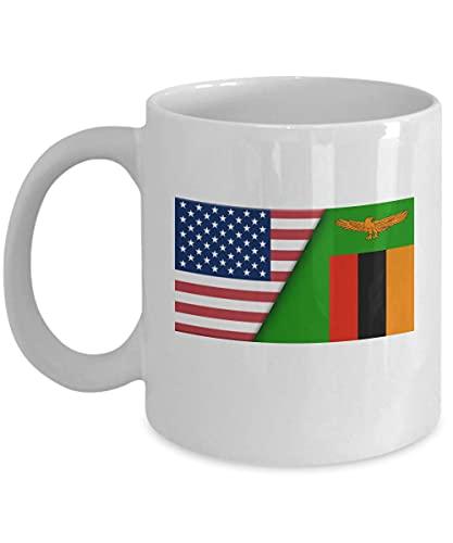 Kaffeetasse mit USA-Sambia-Flagge, 313 ml, Weiß