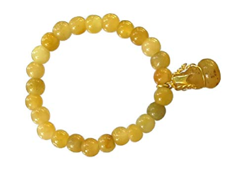 Lucky Yellow Burmese Jade Stone Amulet Bracelet Good Fortune,Wealth and Healthy