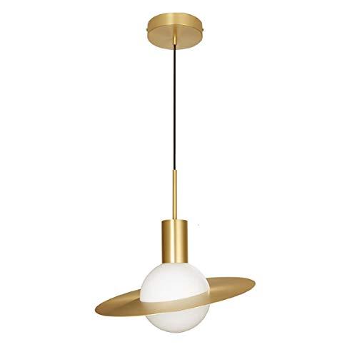 INJUICY Globe Pendelleuchte mit Glasschirm, Gebürstetem Messing, Moderne LED-Hängeleuchte für Esszimmer, Küche, Wohnzimmer, Bar