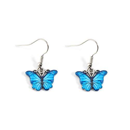 SALAN New Blue Gotping Oil Butterfly Pendientes Collar Conjunto Simulación Mariposa Drop Pendientes Metal Mariposa Piercing Pendientes Regalo