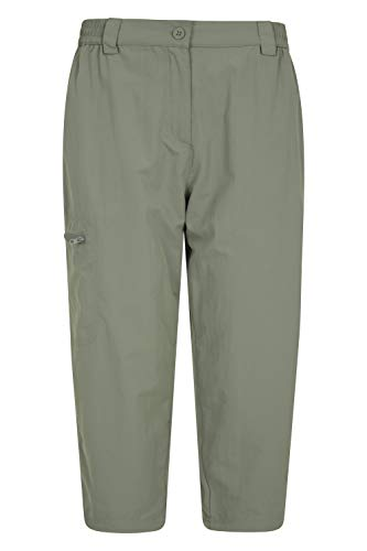 Mountain Warehouse Pantalones Capri Navigator antimosquitos para Mujer - Ligeros, con Forro térmico, de Secado rápido, con Bolsillos - para excursiones, Senderismo Caqui 50