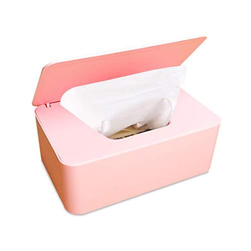 Frjjthchy Dispensador de toallitas de plástico a prueba de polvo con tapa para escritorio de oficina en el hogar, Rosado