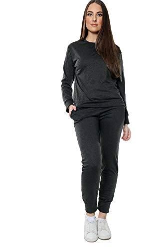Conjunto de 2 piezas para mujer con parte superior lisa y forro polar - negro - 40-42