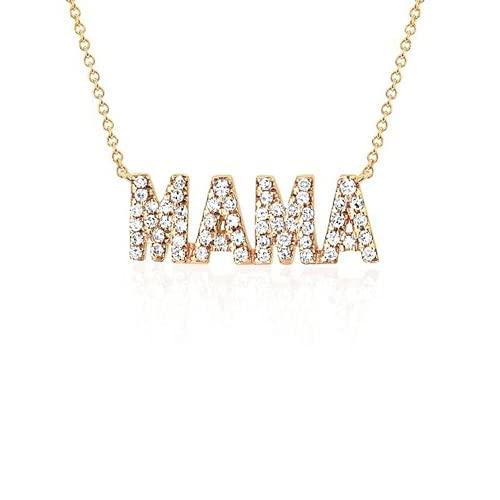 Yaowo Regalo del Día De La Madre De Collar De Madre De Diamantes De Plata Chapada En Oro De Plata De Ley 925 (Dorado)