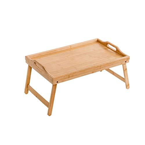 Bambus Klappbares Serviertablett Laptoptisch mit Beinen und Griffen, Bambus Holz Bett Frühstück Serviertablett Ständer für Zuhause, Büro, Sofa, Bett, Essen, Arbeiten