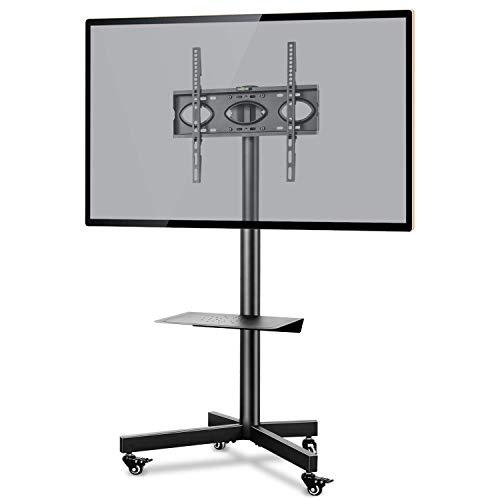 RFIVER Supporto TV da Pavimento con Ruote Carrello Staffa Porta Mobile Supporto per Schermi 26-55 pollici Plasma/LCD/LED fino a 40 kg con Altezza Rego