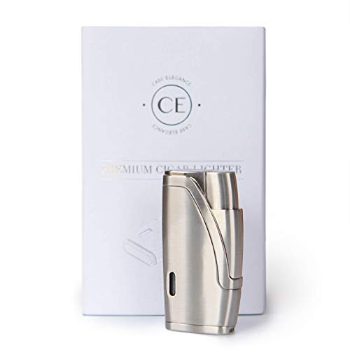 CASE ELEGANCE Brushed Stainless Steel Finish with Double Torch Cigar Lighter