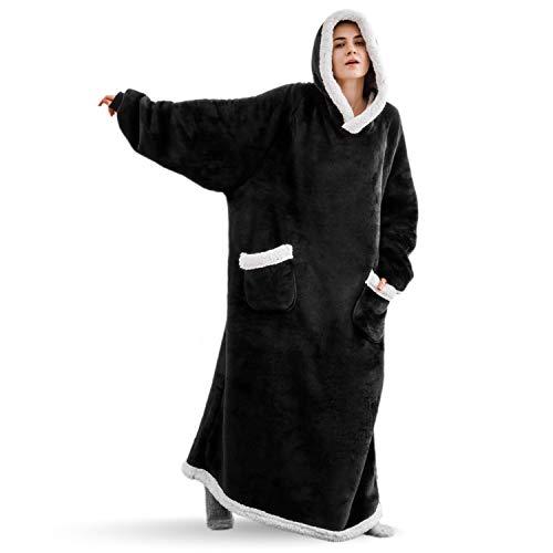 Bedsure Long Wearable Blanket , Sherpa Blanket Hooded , StandardBlanketSweatshirtwithDeepPocketsandSleevesforAdults,Purple