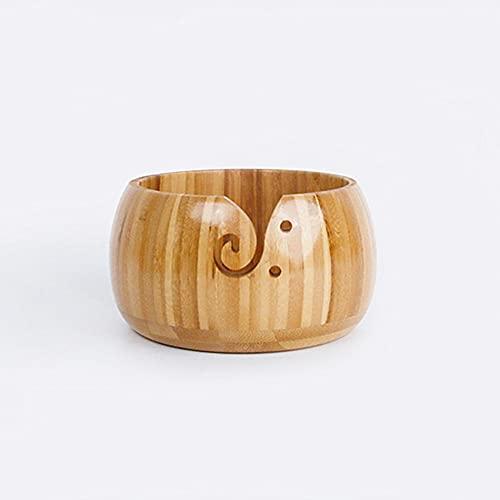 XALO Wooden Yarn Bowl Holder, Bamboo Handmade Wool Crochet Organizer, Dust-Proof Bowl Knitting & Crochet Yarn Storage Bowls,A1