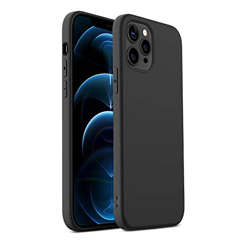 "Compatible with iPhone 12 Pro Max Case (6.7"") (2020), [Anti-Scratch] [Shock-Absorbing] [Soft] TPU Phone Case Cover (Black)"