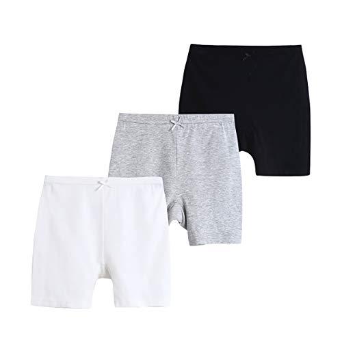 Pantalones cortos de baile para bebé niña de algodón sólido, paquete de 3 unidades, color gris